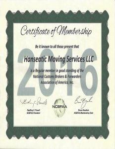Hanseatic Membership Certificate NCBFAA